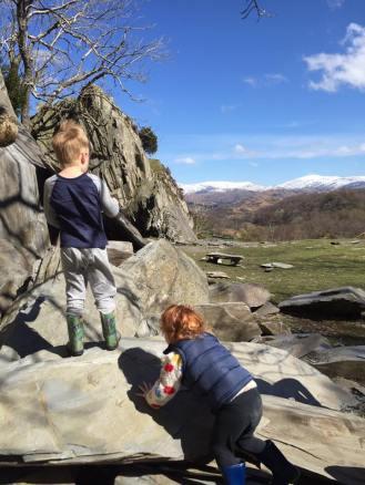 Climbing the rocks at Tilberthwaite