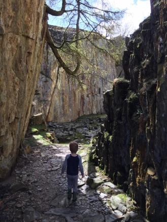 Exploring the quarries at Tilberthwaite