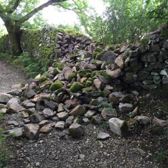 Damaged dry stone wall