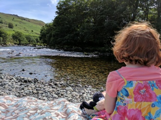 Throwing stones in the River Duddon at Sella Rock near Ulpha